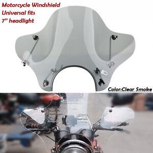 Universal-Motorrad-Windschutzscheibe-Windschild-fuer-7-039-039-Scheinwerfer-Honda-Yamaha