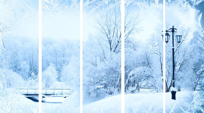Foto tendine inverno nel parco, superfici sipario tendine scorrevoli con motivo, su misura