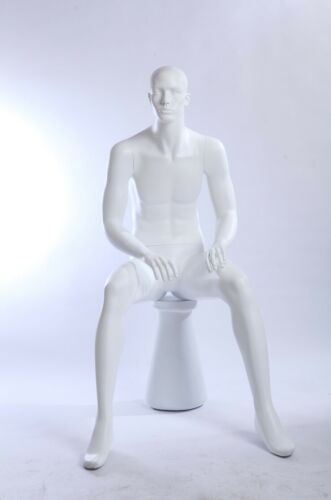 Male Mannequin QT10-6 Sitting Abstract White IN Matte Mann Dolls