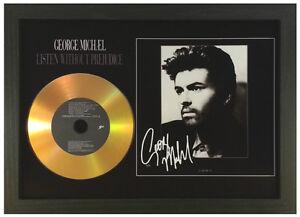 GEORGE-MICHAEL-039-LISTEN-WITHOUT-PREJUDICE-039-SIGNED-PHOTO-GOLD-CD-DISC-MEMORABILIA