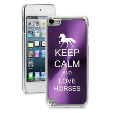 Purple Apple iPod Touch 5th 6th Gen Hard Case Cover Keep Calm & Love Horses