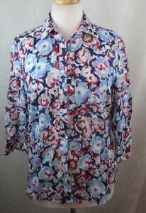 COLDWATER-CREEK-Womens-Button-Down-Shirt-Top-Size-S-Floral-3-4-Slvs-Cotton