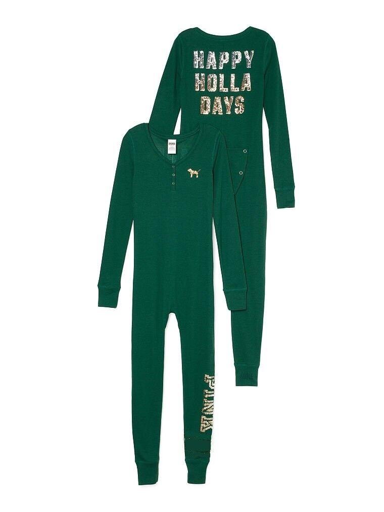 Victoria Secret PINK Bling Happy Holla Days One Piece Long Jane PJ's Pajamas XS