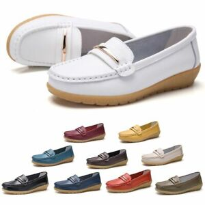 Womens-Walking-Real-Leather-Comfy-Flats-Pump-Loafers-Ladies-Casual-Shoes-Slip-On