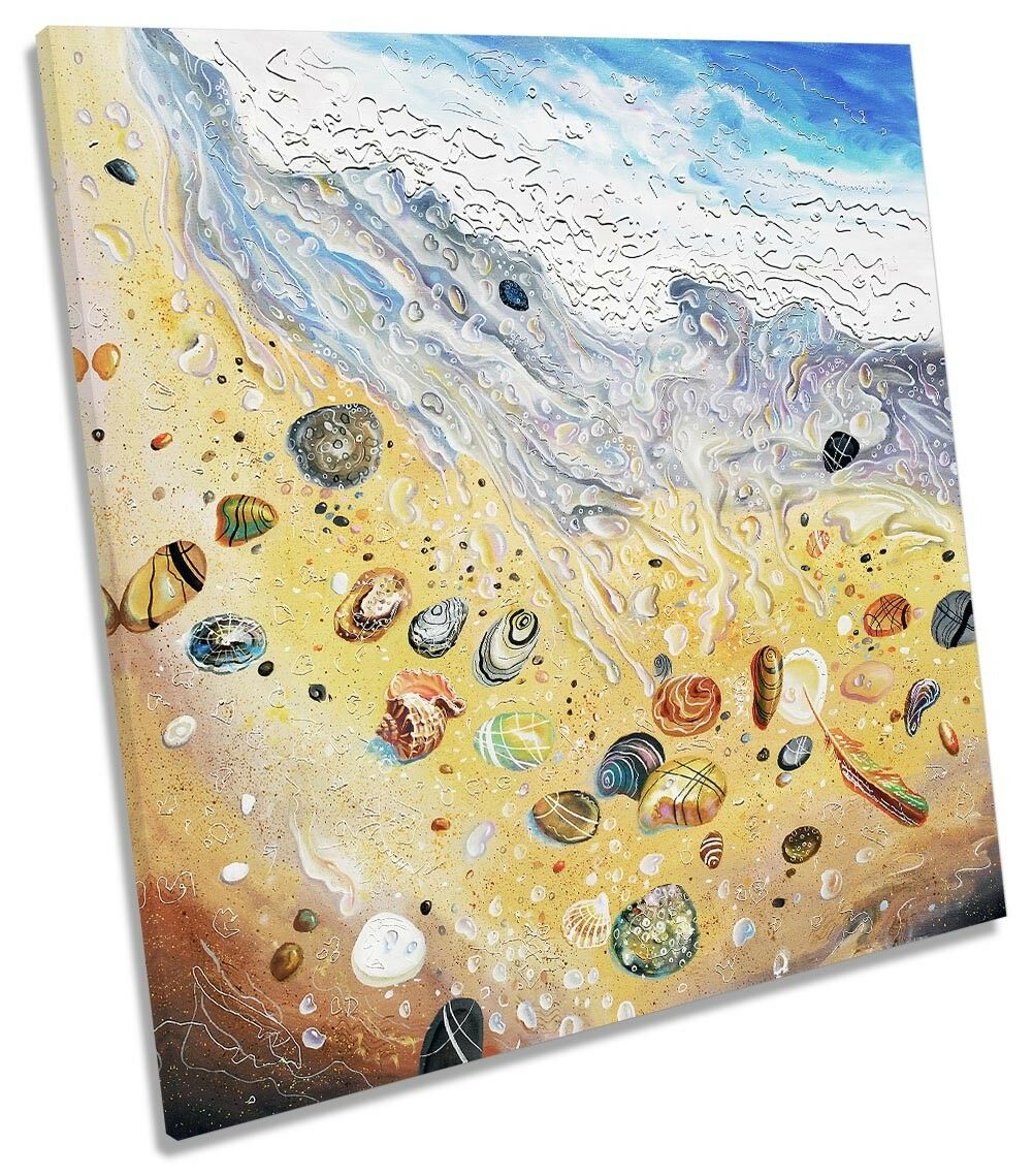 Beach Sea Shells Paint Repro CANVAS WALL ARTWORK Square Art Print