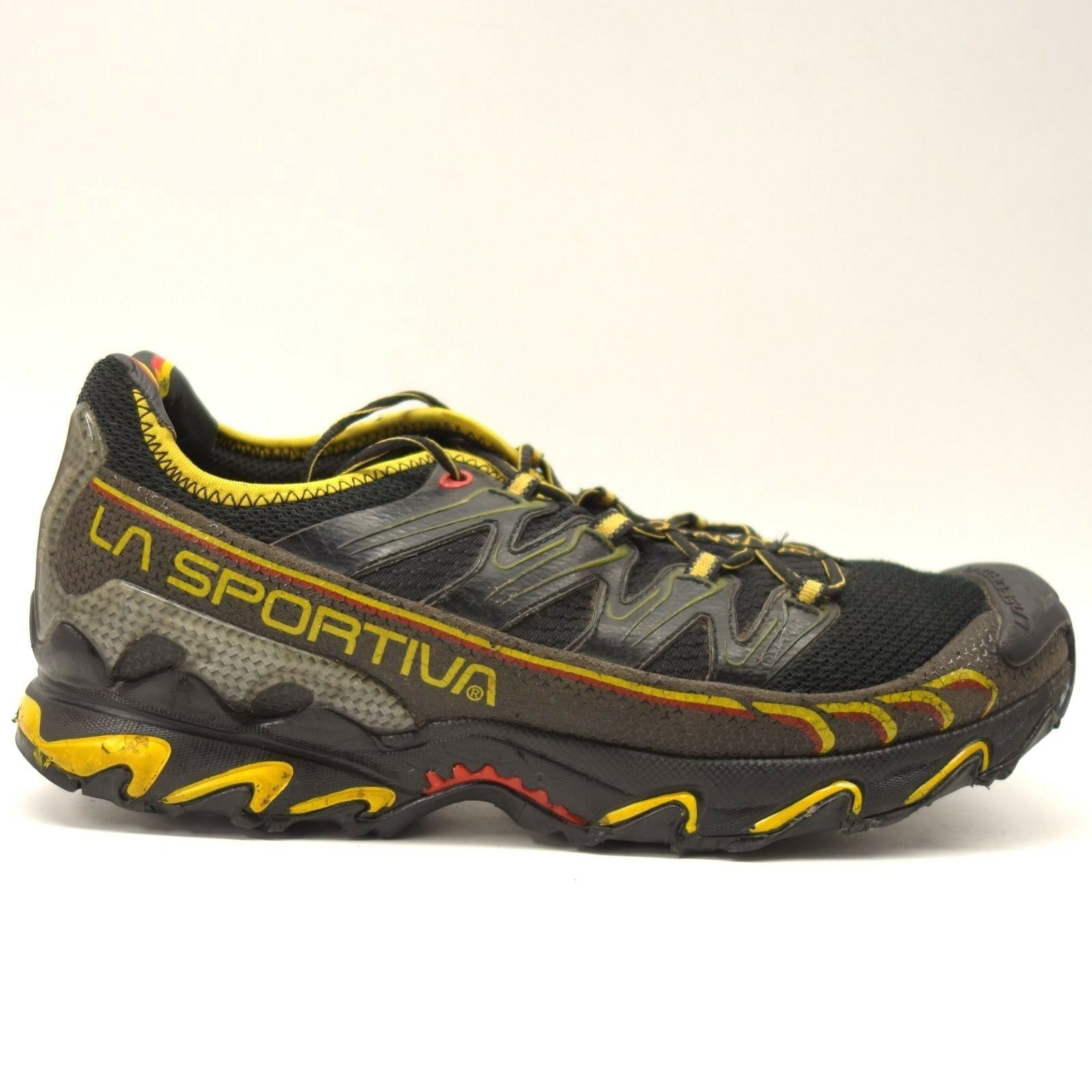La Sportiva Mens Black Yellow Ultra Raptor Athletic Running Trail shoes Size 12