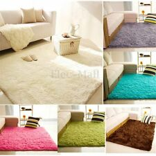 Fluffy Rugs Anti Skid Shaggy Area Rug Dining Room Home Bedroom Carpet Floor  Mat