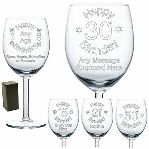 Image Is Loading Personalised Wine Glass Engraved Birthday Gift 70th 80th