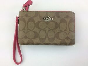 9c0b51e022bc Image is loading New-Authentic-Coach-F87591-Double-Corner-Zip-Wristlet-