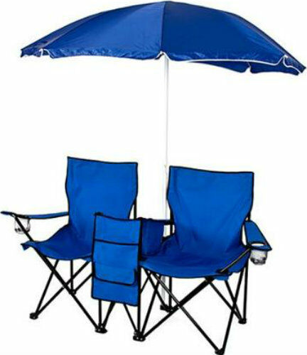 Double Folding Chair with Umbrella Table Cooler Beach Camping Outdoor Sport bluee