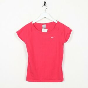 Vintage-Women-039-s-Nike-Small-Logo-T-Shirt-Tee-rose-UK-14-16