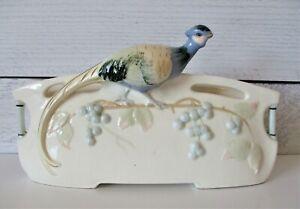 Vintage-Majolica-Pheasant-Planter-Vase-Art-Pottery-Mid-Century-White-Blue