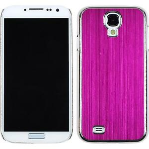 Coque-Rigide-Samsung-Galaxy-S4-metallique-rose-chaud-films-de-protection