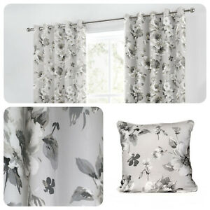 Fusion-CHARITY-Grey-Floral-100-Cotton-Eyelet-Curtains-amp-Cushions