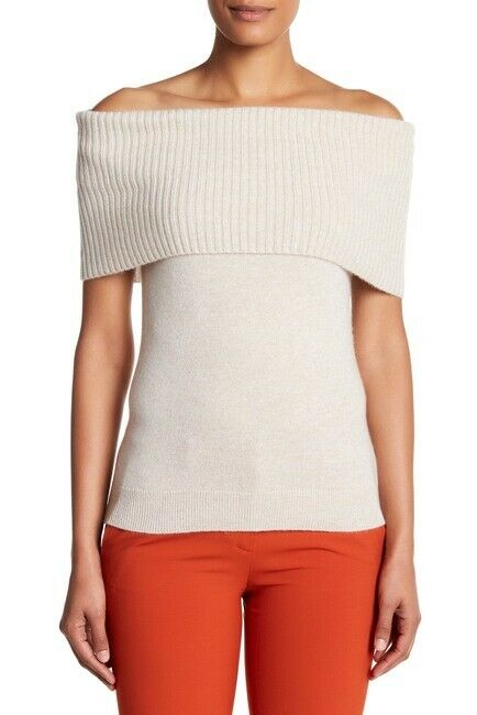 NWT Theory AFLINA S Off-the-Shoulder 100% Cashmere Beige Sweater sz P