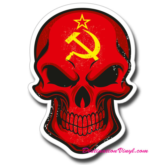 2 x Glossy Vinyl Stickers - Soviet USSR Flag Skull Cool Funny Laptop Decal #0128