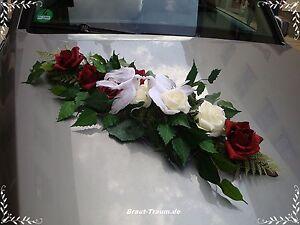 Excl-Autoschmuck-Rose-bourdoux-creme-Hochzeit-Braut-Neu
