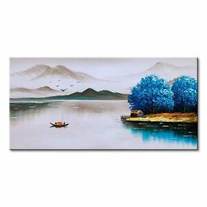 Hand-Painted-Landscape-Painting-Art-on-Canvas-Wall-Decor-Lake-Scenery-Artwork