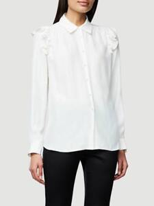 3dc7857569a86 New Frame Off White Ruffle-Shoulder Long Sleeve Silk Blouse Top Size ...