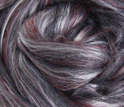 "SILK MERINO Sliver blend by Ashford NZ ""POPPY SEED""  for spinning felting 100gms"