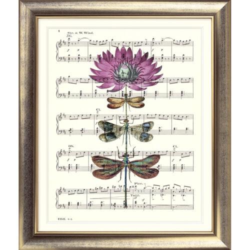 ART PRINT ORIGINAL VINTAGE MUSIC SHEET Page DRAGONFLY FLOWER PINK BOTANICAL ART