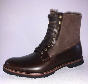 a3066254cd3 Details about Timberland KENDRICK FUR Mens Dark Brown TB0A1R2Z Sheep Fur  Lined Leather Boots