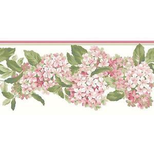 Wallpaper-Border-Green-and-Pink-Hydrangeas-on-White-Die-Cut