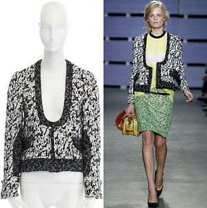 Cropped Ss11 Jacket Schouler Hook Eye Proenza White Boucle S Us4 Runway Black wO8pqnE