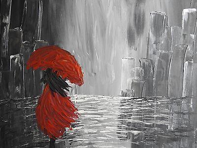 "Acryl Gemälde ""Frau im Regen"" 60x60 cm auf Keilrahmen"