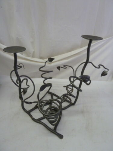WROUGHT IRON CANDLE WINE BOTTLE HOLDER CENTER PIECE