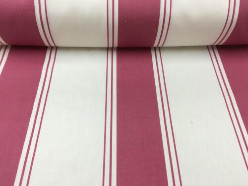 Cortina de rayas de algodón rosa profundo Kirkby//Tela Artesanal