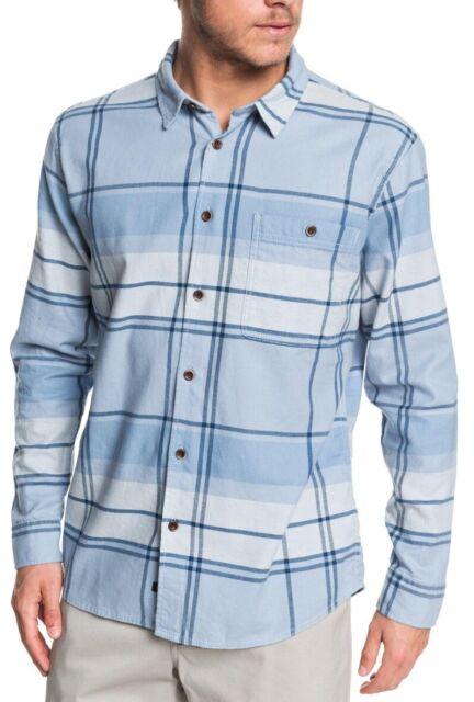 Quiksilver Mens Shirt Blue Size XL Button Down Plaid Printed Pocket $75 #074