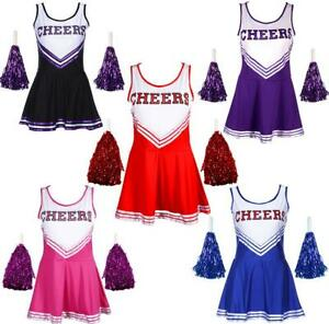 cheerleader fancy dress outfit high school musical uniform costume pom poms ebay. Black Bedroom Furniture Sets. Home Design Ideas