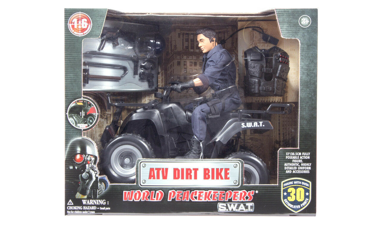 World Peacekeepers SWAT ATV Dirt Bike med Action 1 6 Scale - Brand Ny