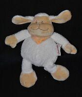 Peluche doudou mouton BENGY 2007 blanc crème écharpe bandana orange 19 cm NEUF
