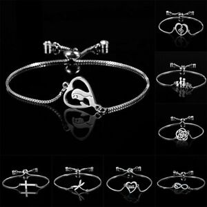Charm-Adjustable-Silver-Chain-Bracelet-Charm-Bangle-Jewellery-Women-Mother-Gift