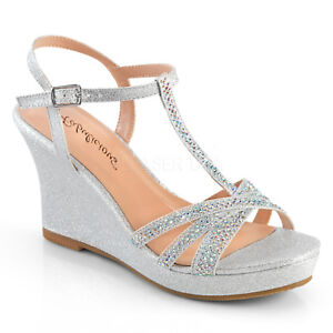 21886134f7 Image is loading Silver-Rhinestones-Wedges-Heels-Vintage-Bridesmaid-Wedding- Shoes-