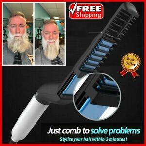 Details about Quick Beard Straightener Multifunctional Hair Comb Curling Curler Show Cap Men U