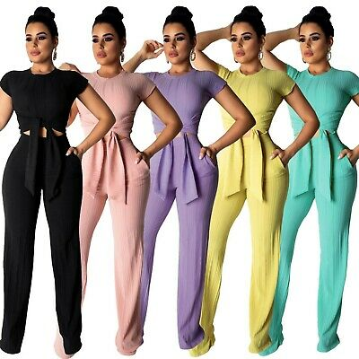 Women Strapless Bodycon Club Party Casual Solid Color Long Pants  Jumpsuit 2pc