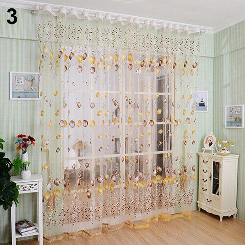 CW/_ Tulip Flower Voile Curtain Drape Panel Room Sheer Home Office Door Window De