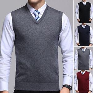 f6f2701f3ee7c Mens Knit Vest Tank Top Jumper Knitwear Sleeveless Plain Sweater ...
