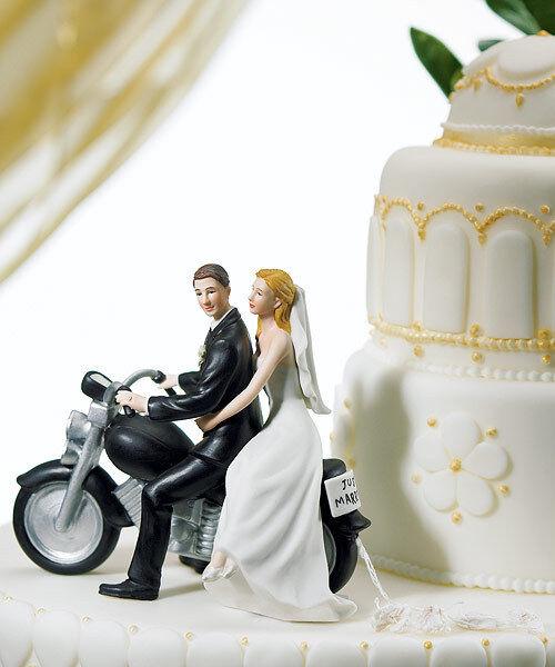 Motorcycle Get-Away Couple Porcelain Wedding Cake Topper