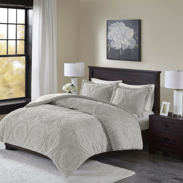 Luxury Grey Ultra Plush Textured Medallion Comforter AND Decorative Shams