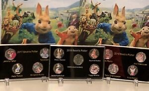 3-X-Display-Case-2016-2017-2018-Beatrix-Potter-50p-Coin-Print-Stands-NO-COIN