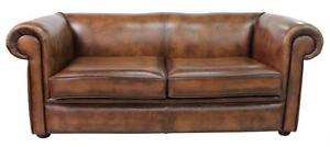 Antique Tan Leather Sofa Settee