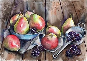 Pears-And-Blackberries-original-Gala-Kostroma-still-life-watercolor-painting