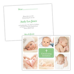 Personalised-Christening-invitations-CLASSIC-GREEN-PHOTOS-FREE-ENVELOPES-amp-DRAF
