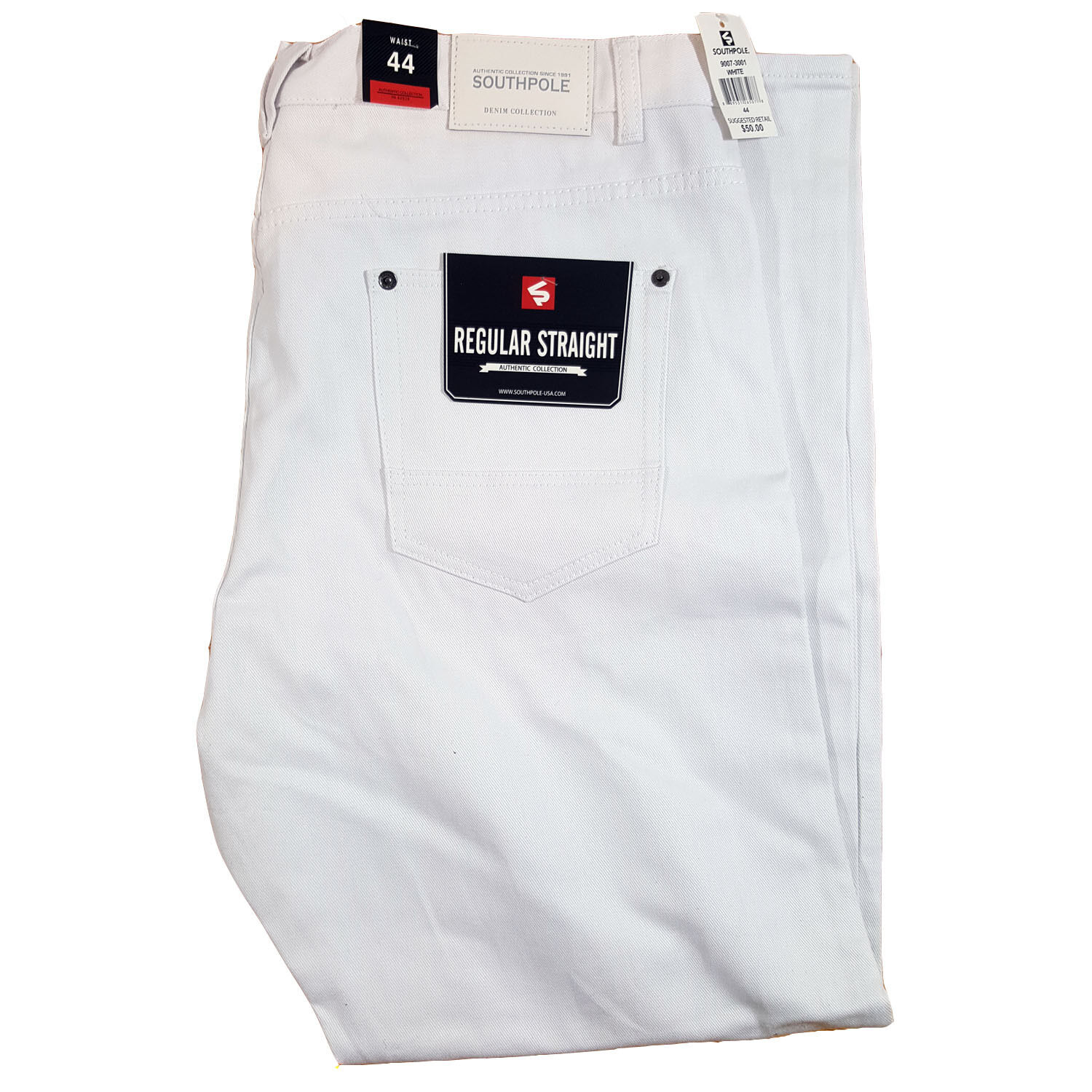 SOUTHPOLE MEN'S BIG AND TALL BULL TWILL STRAIGHT WHITE PANTS  (Size 44-52)