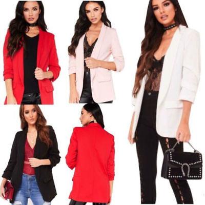 Ladies Frill Ruffle 3//4 Sleeve Long-line Duster Coat Women Jacket Blazer UK 8-26