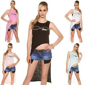 Top-donna-maglietta-lunga-maxi-asimmetrica-cut-coda-lato-smanicata-nuova